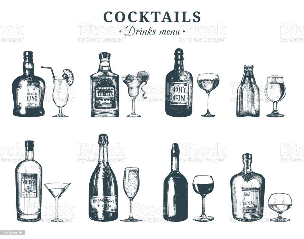 Hand sketched bottles and glasses of alcoholic beverages. Vector set of drinks and cocktails. Restaurant, cafe, bar menu illustrations:rum,tequila,margarita,gin tonic, beer,vodka,champagne,cognac etc. vector art illustration