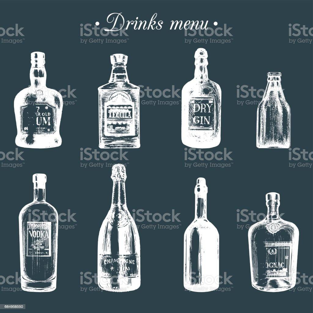 Hand Gezeichnet Flaschen Alkoholische Getränke Rum Tequila Gin Bier ...