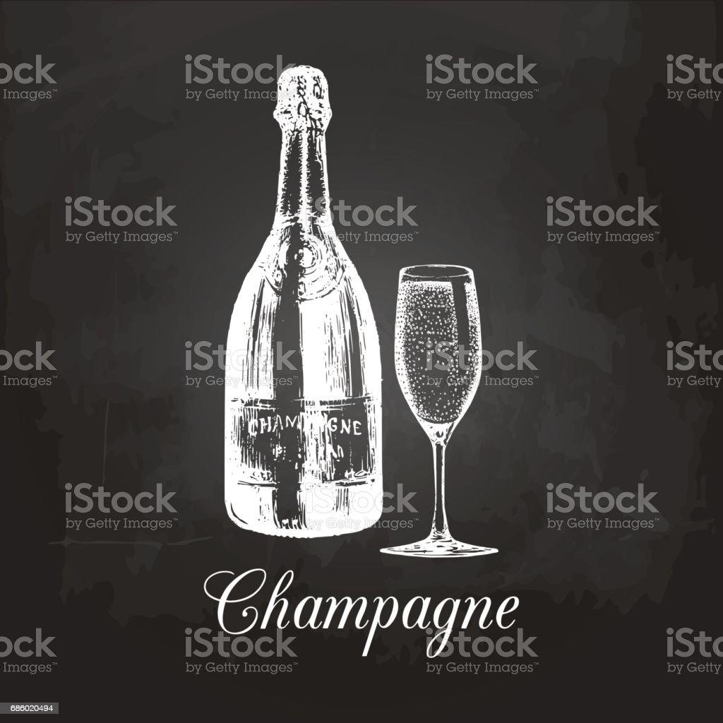 Hand Gezeichnet Champagnerflasche Und Glas Vintage ...