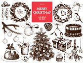 Vintage Christmas decoration set. Vector holiday ink hand drawn elements collection.