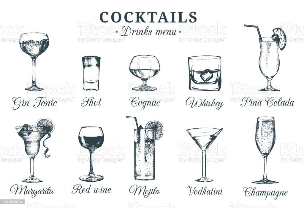 Hand sketched cocktails glasses. Vector set of alcoholic drinks drawings. Restaurant, cafe, bar menu illustrations isolated. vector art illustration