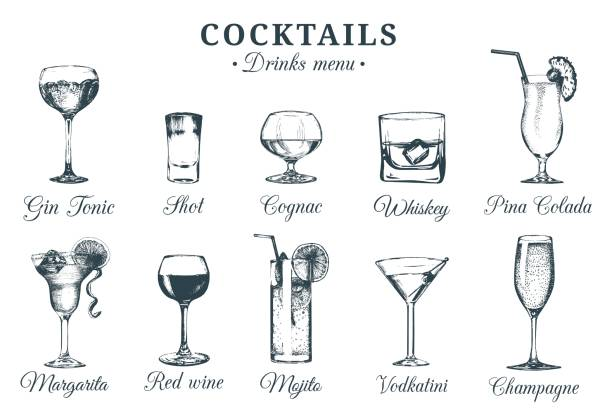 illustrations, cliparts, dessins animés et icônes de main a mis au point des verres à cocktails. ensemble de vecteur de dessins de boissons alcoolisées. restaurant, café, bar illustrations menu isolé. - mojito champagne