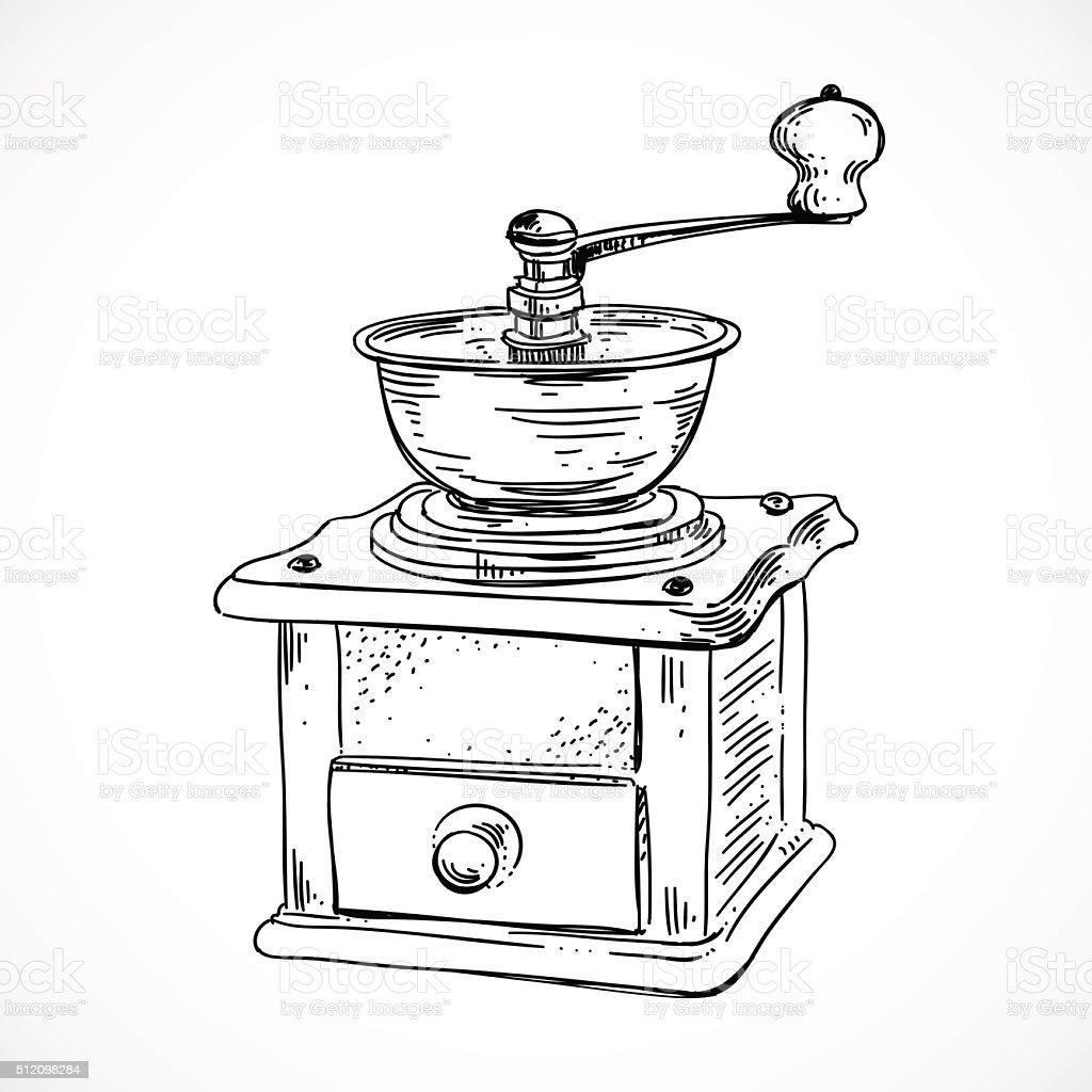 Coffee Grinder Clip Art ~ Hand sketched coffee mill vintage grinder stock