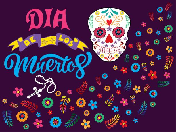 Hand sketched colorful Dia de los Muertos typography lettering with skull, rosary and flowers isolated on dark violet background. vector art illustration