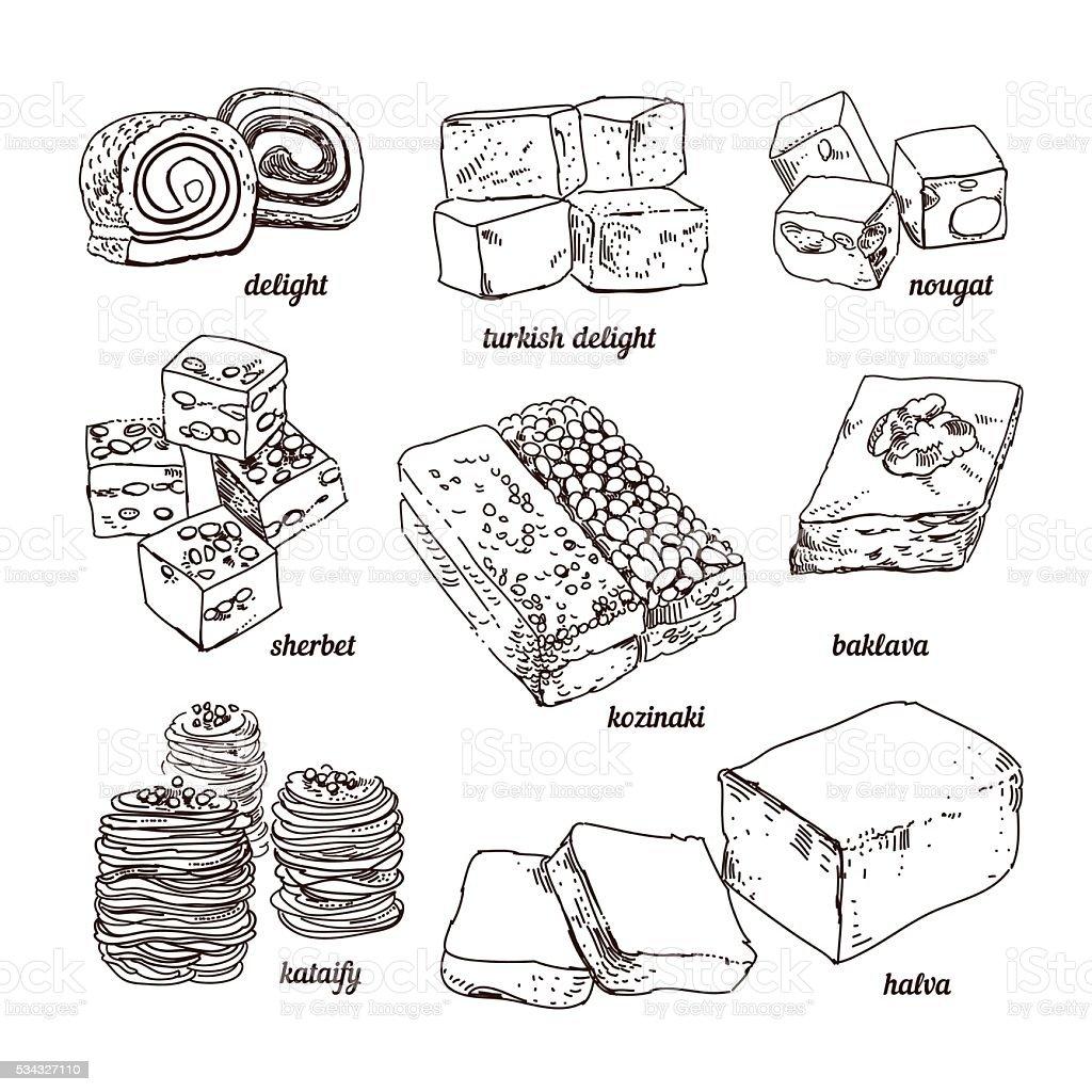 Hand sketched eastern sweets. Paste, sherbet, kozinaki, Turkish Delight vector art illustration