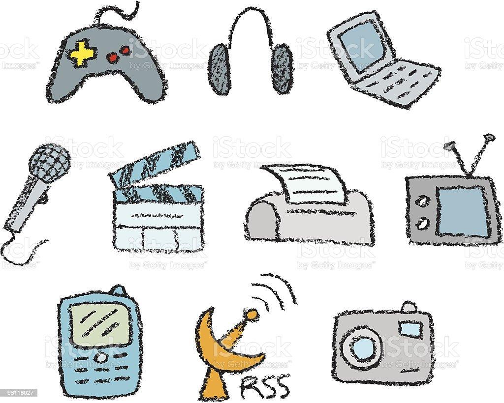 Mano schizzo icone di elettronica mano schizzo icone di elettronica - immagini vettoriali stock e altre immagini di computer royalty-free
