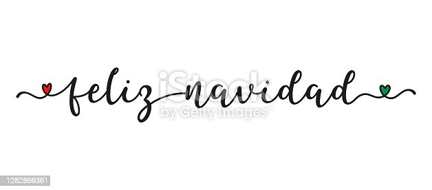 istock Hand sketched FELIZ NAVIDAD quote in Spanish as banner. Translated Merry Christmas. Lettering for poster, label, sticker, flyer, header, card, advertisement, announcement. 1282866361