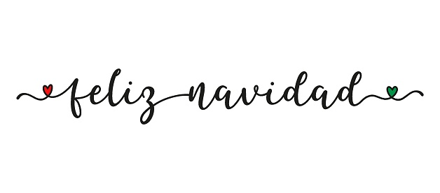 Hand sketched FELIZ NAVIDAD quote in Spanish as banner. Translated Merry Christmas. Lettering for poster, label, sticker, flyer, header, card, advertisement, announcement.