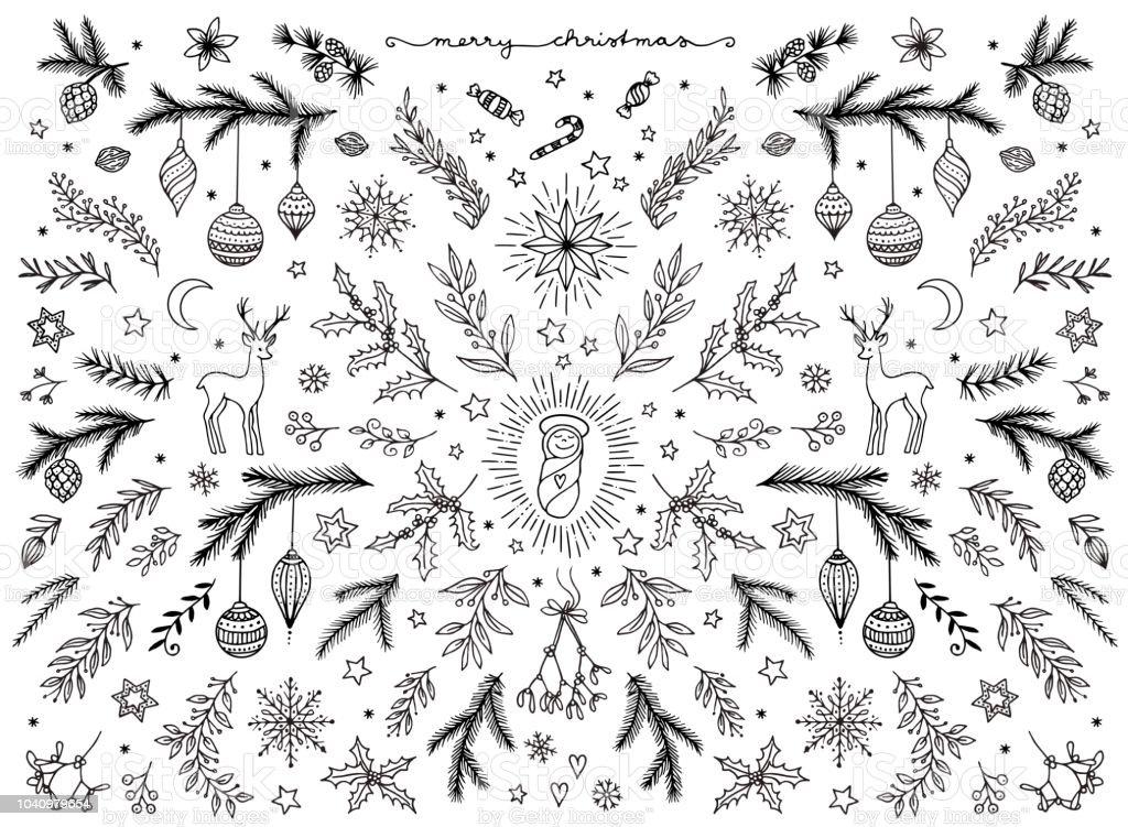 Hand sketched floral design elements for Christmas vector art illustration