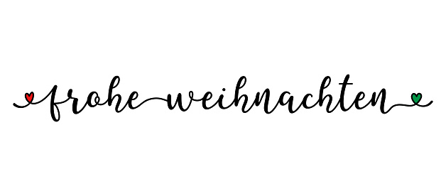 Hand sketched FROHE WEIHNACHTEN quote as banner in German. Translated MERRY CHRISTMAS. Lettering for poster, label, sticker, flyer, header, card, advertisement, announcement.