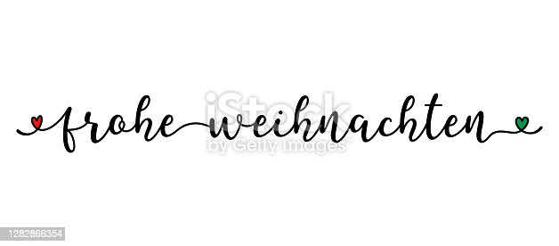istock Hand sketched FROHE WEIHNACHTEN quote as banner in German. Translated MERRY CHRISTMAS. Lettering for poster, label, sticker, flyer, header, card, advertisement, announcement. 1282866354