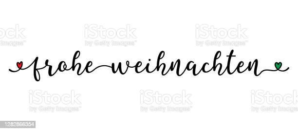 Рука Набросал Frohe Weihnachten Цитатой Как Баннер На Немецком Языке Перевод Мерри Рождественская Письма Для Плаката Этикетки Наклейки Листовк — стоковая векторная графика и другие изображения на тему Векторная графика