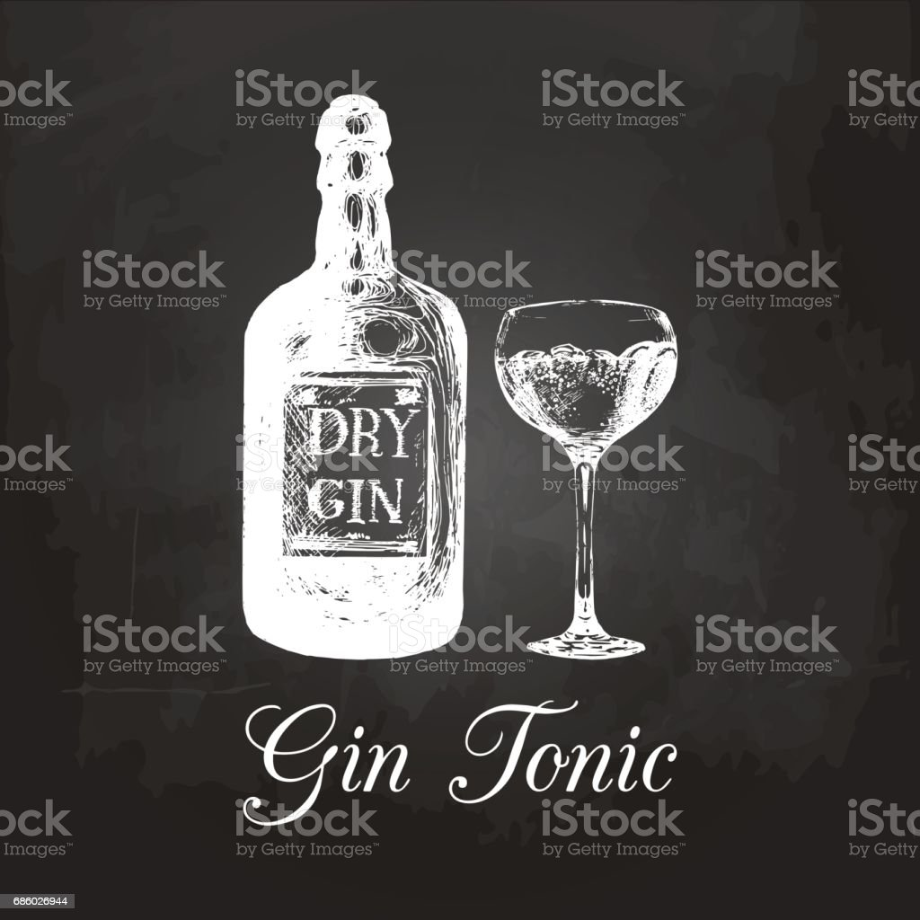 Hand sketched gin bottle and tonic glass. Alcoholic drink drawing on chalkboard. Vector illustration of traditional cocktail for cafe, bar, restaurant menu. vector art illustration