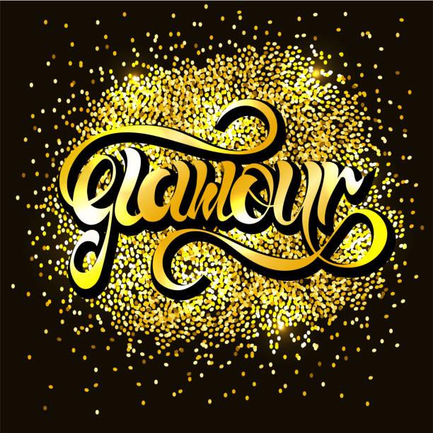 """hand gezeichnet """"glamour"""" schriftzug typografie. - paphos stock-grafiken, -clipart, -cartoons und -symbole"""