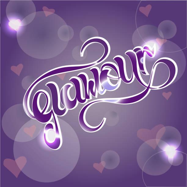 """hand gezeichnet """"glamour"""" schriftzug typografie - paphos stock-grafiken, -clipart, -cartoons und -symbole"""