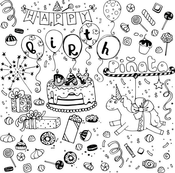 hand sketched happy birthday doodles hand sketched happy birthday doodles on white background cartoon of birthday cake outline stock illustrations