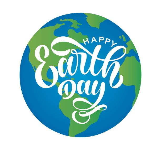 Hand sketched Happy Earth Day typography lettering poster. Modern calligraphy. White sign on the background of planet Earth. Lucky template for greeting cards and poster. Vector illustration. Hand sketched Happy Earth Day typography lettering poster. Modern calligraphy. White sign on the background of planet Earth. Lucky template for greeting cards and poster. Vector illustration. earth day stock illustrations