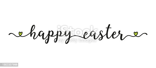 istock Hand sketched HAPPY EASTER quote as banner. Lettering for poster, label, sticker, flyer, header, card, advertisement, announcement. 1302337998