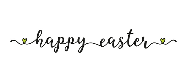 Hand sketched HAPPY EASTER quote as banner. Lettering for poster, label, sticker, flyer, header, card, advertisement, announcement.
