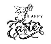 Hand sketched Happy Easter typography lettering poster . Modern calligraphy with rabbit and flower. Sign isolated on white background. Vector illustration.