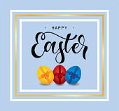 Hand sketched Happy Easter with golden frame. Modern calligraphy with set of Easter eggs with ribbons and bows. Lucky for postcard, card, invitation, poster, banner template. Vector illustration.