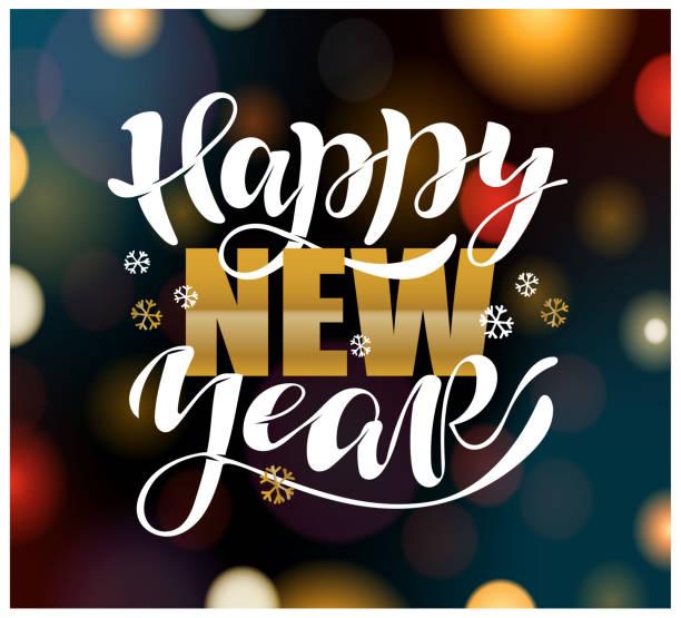 ilustraciones, imágenes clip art, dibujos animados e iconos de stock de logotipo de feliz año nuevo esbozado a mano, insignia, tipografía de letras de icono. carta 'feliz año nuevo' para tarjeta de felicitación de navidad, plantilla de invitación. pancarta de invierno, cartel. feliz navidad - víspera de año nuevo
