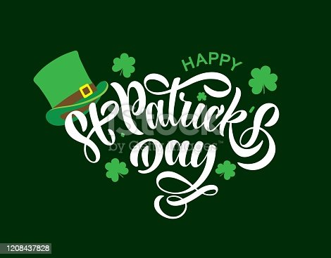 istock Hand sketched Happy St. Patrick s Day typography lettering poster. Celebration quote for postcard, icon, logo, badge. Ireland celebration green vector calligraphy text isolated on green background. 1208437828