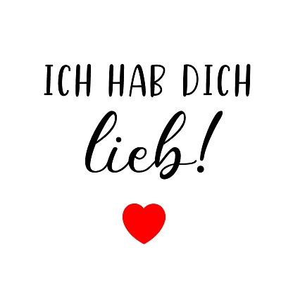 Hand Skizziert Ich Hab Dich Lieb Deutsches Zitat Was