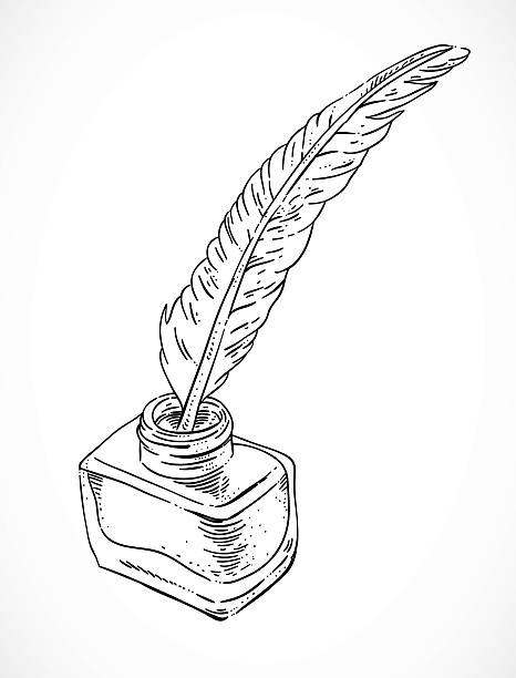 Quill And Inkwell Drawing Royalty Free Ink Well ...
