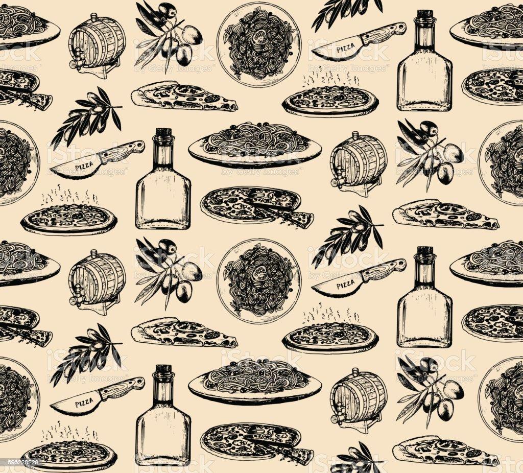 手スケッチ イタリア料理要素シームレス パターン。南ヨーロッパの伝統的な食事背景。 ベクターアートイラスト