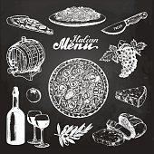 Hand sketched italian menu. Vector mediterranean cuisine food sketches on chalkboard. Pizza, pasta, wine etc illustrations for restaurant, cafe, bar design concepts.