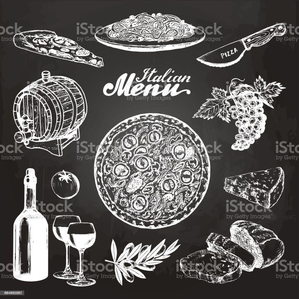 手では、イタリアン メニューをスケッチしました。黒板に地中海料理食品スケッチをベクトルします。カフェ、バーのメニューのイラスト。 ベクターアートイラスト