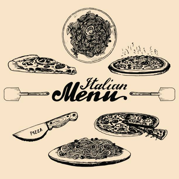 Hand sketched italian menu. Vector set of drawn mediterranean food elements with lettering in ink style. vector art illustration