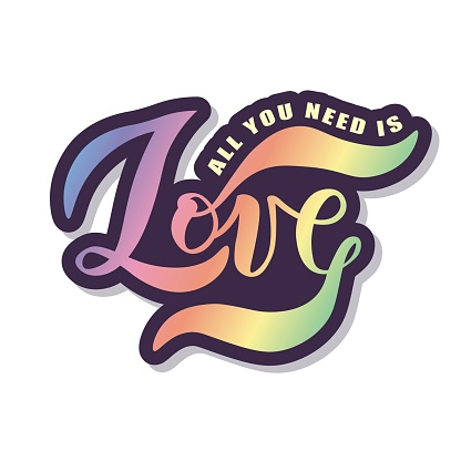 Hand sketched Love  text for clothes. Vector. Lettering typography.