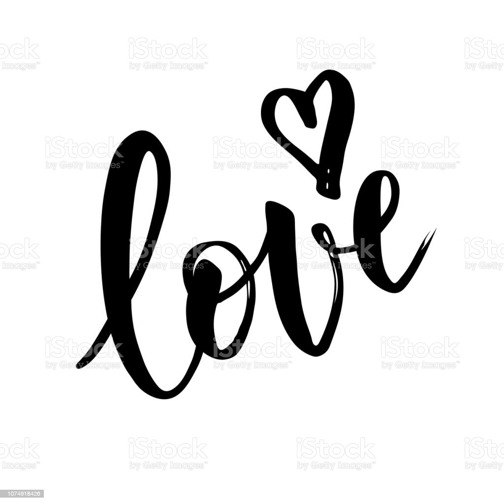 Download Hand Sketched Love Word Vector Lettering Typography Stock ...