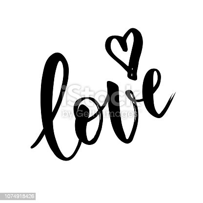 istock Hand sketched Love word. Vector. Lettering typography. 1074918426