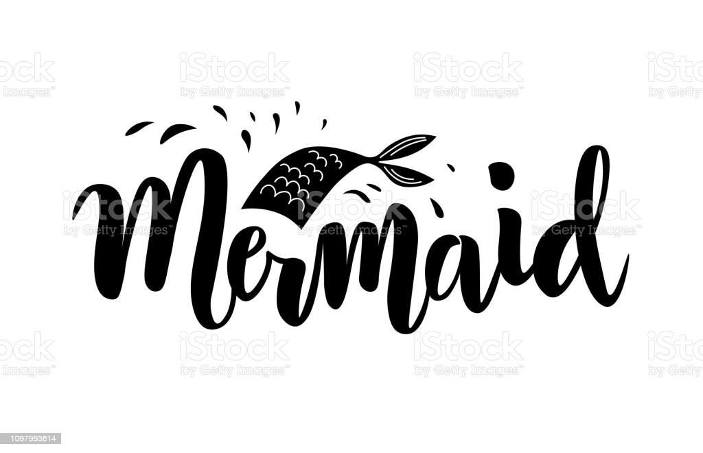 Hand Sketched Mermaid Squad Text Lettering Typography For