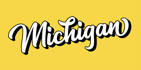 Hand sketched MICHIGAN text. 3D vintage, retro lettering for poster, sticker, flyer, header, card, clothing, wear