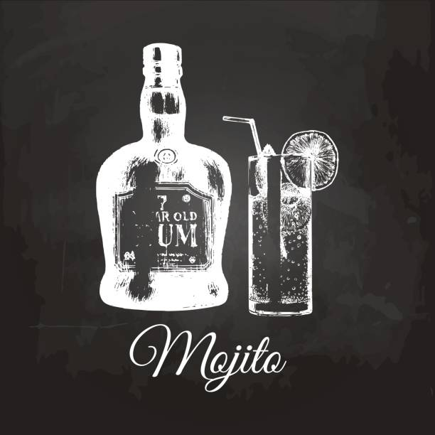 Hand sketched Mojito glass and rum bottle. Alcoholic drink drawing on chalkboard. Vector illustration of cocktail. Hand sketched Mojito glass and rum bottle isolated. Alcoholic drink drawing on chalkboard. Vector illustration of traditional cocktail for cafe, bar, restaurant menu. love potion stock illustrations