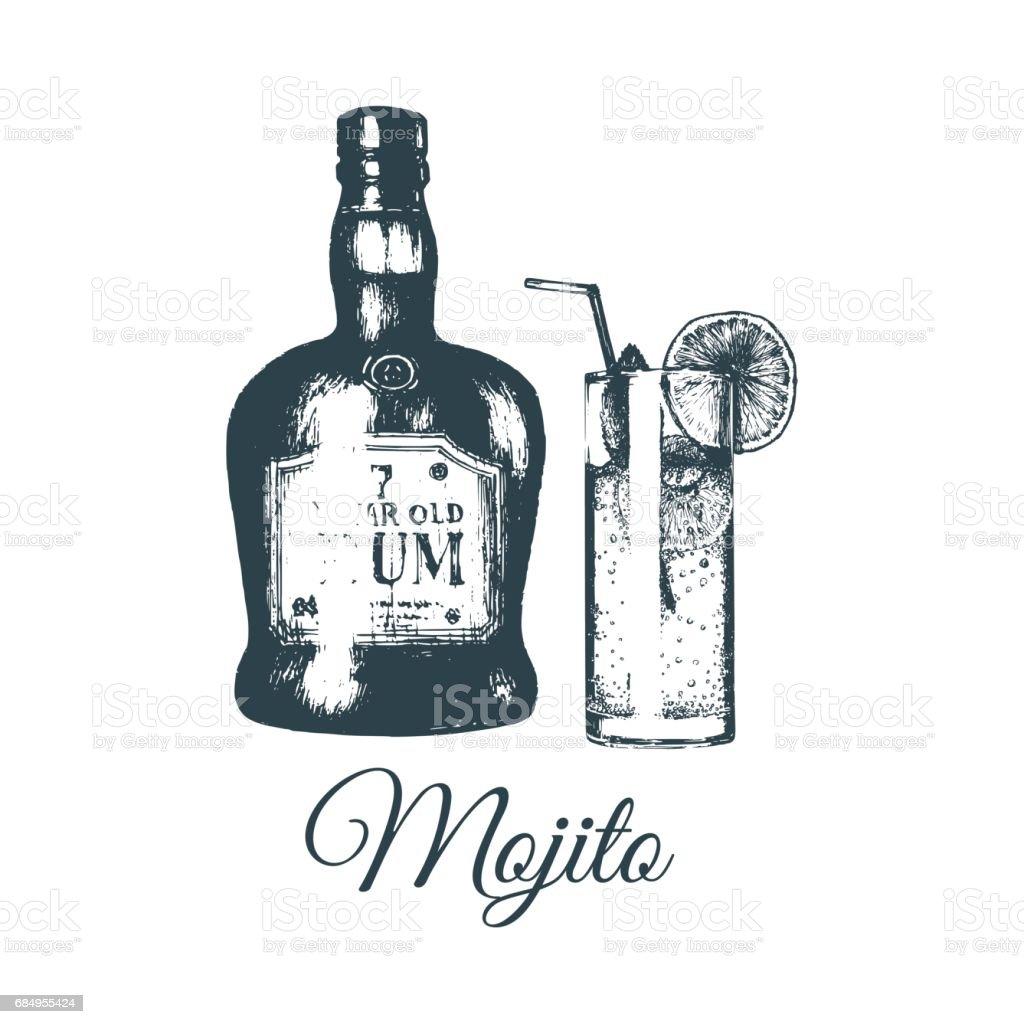 Hand gezeichnet Mojito Glas und rum Flasche isoliert. Alkoholisches Getränk set Zeichnung. Vektor-Illustration der Cocktail. Lizenzfreies hand gezeichnet mojito glas und rum flasche isoliert alkoholisches getränk set zeichnung vektorillustration der cocktail stock vektor art und mehr bilder von barkeeper