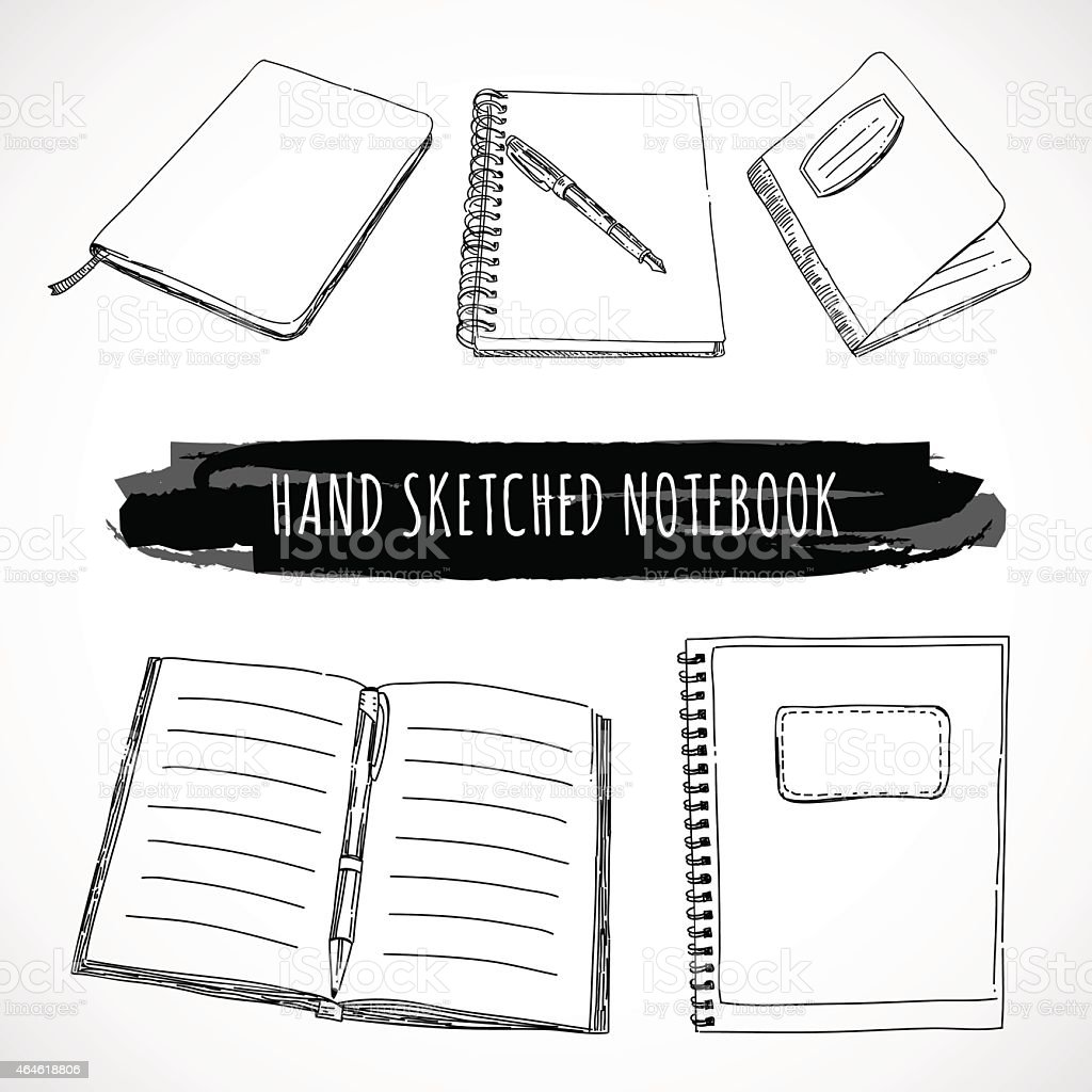 Hand sketched notebook and notepad made in vector vector art illustration