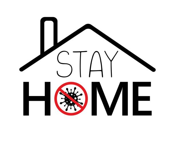 Hand sketched roof with red prohibit sign, coronavirus molecule and text stay home. Concept for coronavirus banner. Illustration for notification of quarantine. vector art illustration