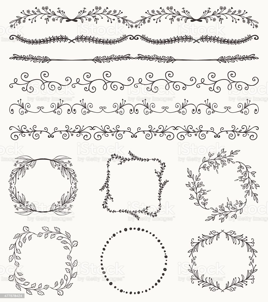 Hand Sketched Seamless Borders Frames Dividers Swirls Stock