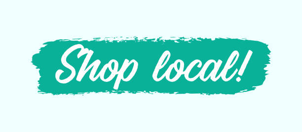 Hand sketched Shop Local quote as web, ad banner. Motivational lettering for poster, print, flyer, header, card, advertisement Hand sketched Shop Local quote as web, ad banner. Motivational lettering for poster, print, flyer, header, card, advertisement ethical consumerism stock illustrations
