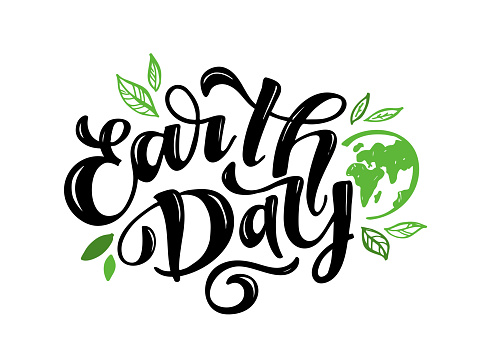 Hand sketched text 'Happy Earth Day'. Vector lettering for postcard banner template. typography for eco friendly ecology concept. World environment background