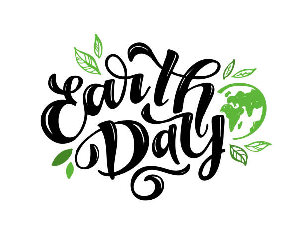 Hand sketched text 'Happy Earth Day'. Vector lettering for postcard banner template. typography for eco friendly ecology concept. World environment background Hand sketched text 'Happy Earth Day'. Vector lettering for postcard banner template. typography for eco friendly ecology concept. World environment background earth day stock illustrations