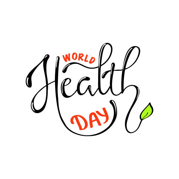 Hand sketched text 'World Health Day' Hand sketched text 'World Health Day' on withe background. Celebration hand drawn text for postcard, card, banner template. Vector lettering typography. Calligraphy with objects. world health day stock illustrations