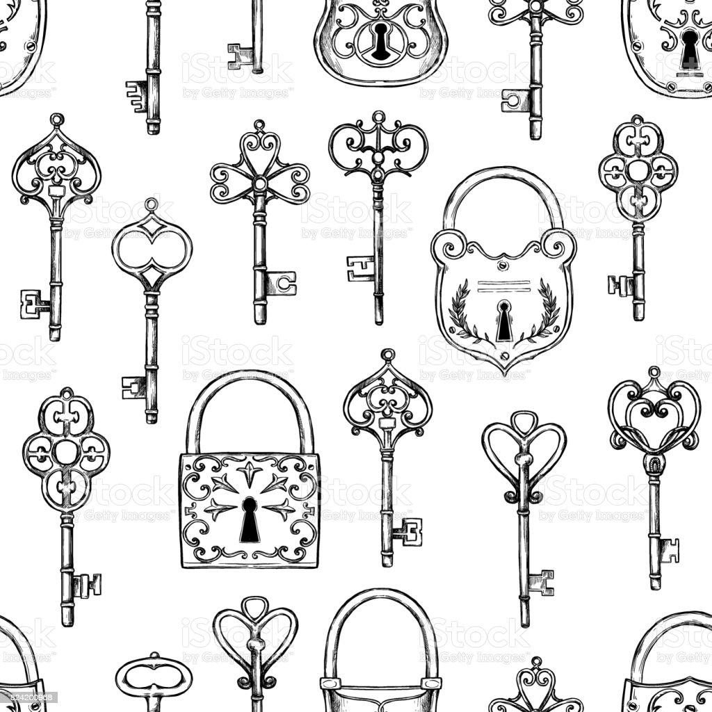 Hand sketched vector illustration seamless pattern with vintage keys hand sketched vector illustration seamless pattern with vintage keys and locks design elements with biocorpaavc Gallery