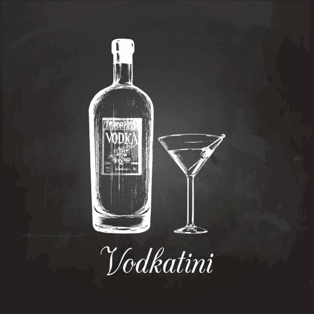 Hand sketched vodka bottle and vodkatini glass. Alcoholic drink drawing on chalkboard. Vector illustration of cocktail. Hand sketched vodka bottle and vodkatini glass. Alcoholic drink drawing on chalkboard. Vector illustration of traditional cocktail for cafe, bar, restaurant menu. drawing of a glass liquor flask stock illustrations