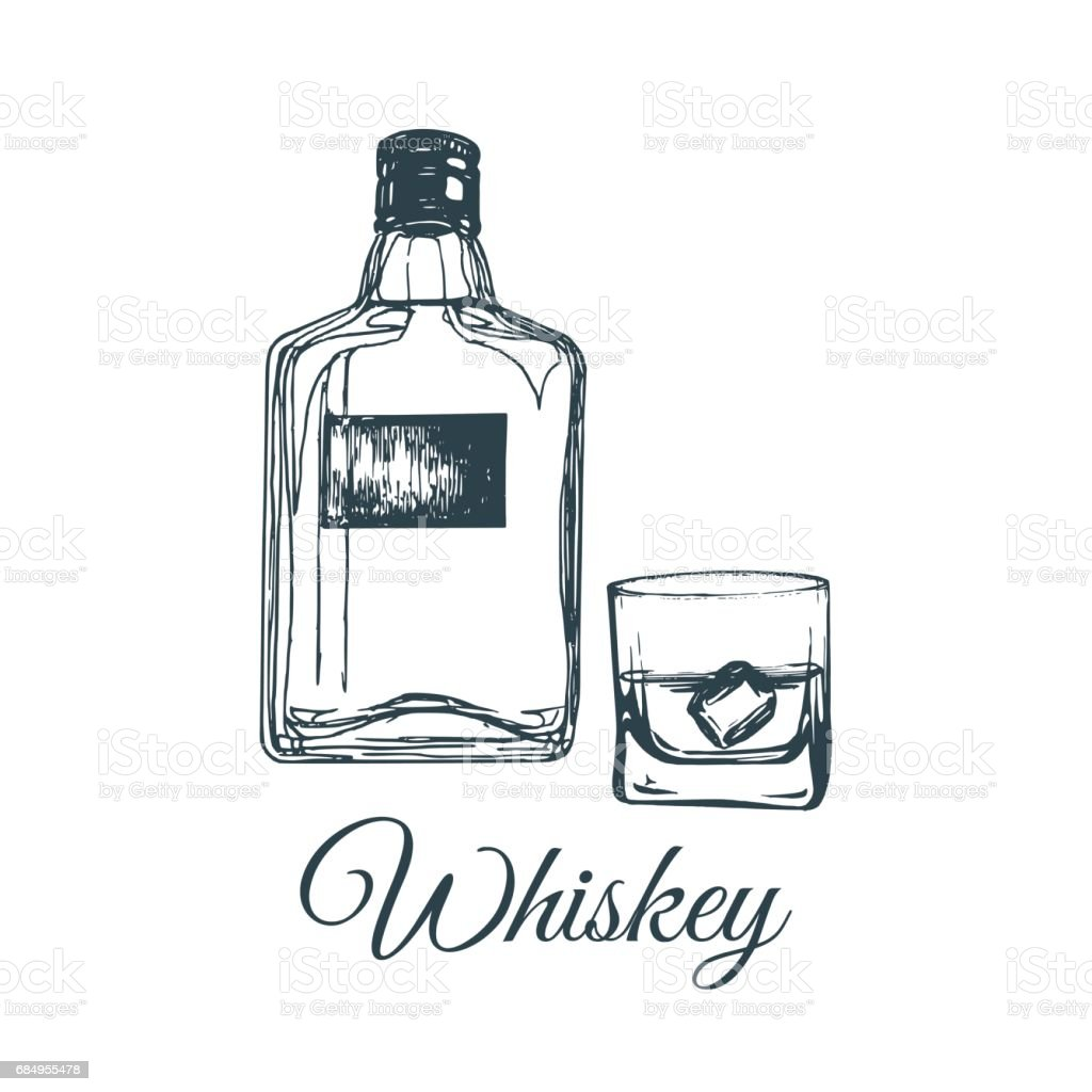 Hand Sketched Whiskey Bottle And Glass Vector Illustration